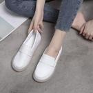 小白鞋 小白鞋女2021年春新款軟底加絨豆豆鞋舒適防滑百搭不累腳護士鞋【快速出貨八折鉅惠】
