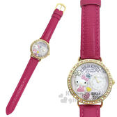 〔小禮堂〕Hello Kitty 日製皮革手錶《桃.站姿.直紋》腕錶.淑女錶.精緻盒裝 4937996-77619