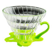 金時代書香咖啡 TIAMO V02 耐熱玻璃 咖啡 濾杯 濾器 附咖啡匙+滴水盤 綠色  HG5357G