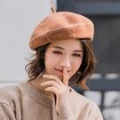 帽子女秋冬季網紅款貝雷帽韓版日系畫家帽南瓜帽女士蓓蕾帽冬天  快速出貨