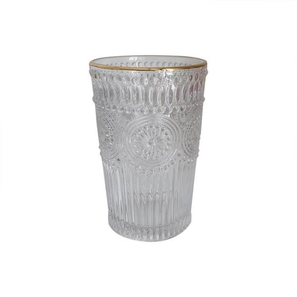 少女心放映室 送吸管ins復古浮雕金邊玻璃水杯