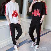 套裝男2019春夏季嘻哈七分袖T恤韓版潮流學生網紅帥氣休閒兩件套 依凡卡時尚