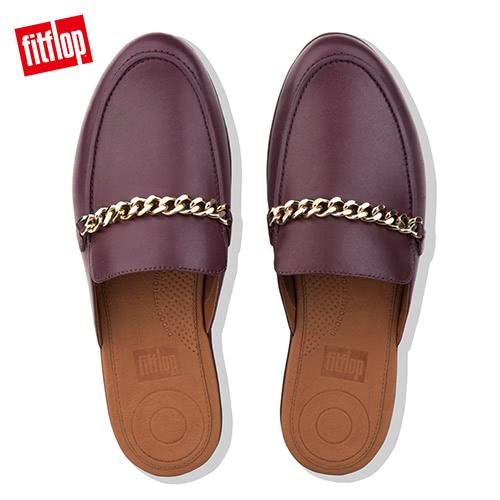 超值魅力精選特惠【FitFlop】SERENE CHAIN LEATHER MULES無後跟時尚穆勒鞋(深梅色)