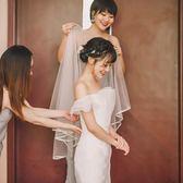 白色緞面包邊短款頭紗 新娘頭紗女 結婚拍照婚紗頭紗頭飾 星辰小鋪