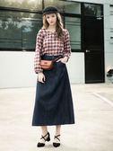 秋冬單一價[H2O]顯瘦長版A字牛仔裙 - 藍色 #8652004