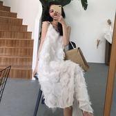 韓版港味chic時尚擺吊帶裙連身裙女夏