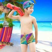 波里波麗 兒童游泳衣/褲 男童 套裝  中大童平角漸變條紋泳褲