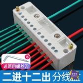 電線連接器 分線盒接線端子排分線器電線家用二進十二出接線盒明裝電工連接器