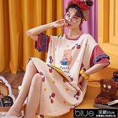 睡裙女夏季中長款過膝棉質睡衣女學生韓版可愛短袖寬鬆大碼家【全館免運】