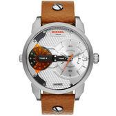 DIESEL 航行者二地時間個性時尚腕錶-銀x咖啡帶