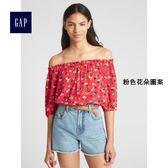 Gap女裝 時尚舒適印花休閒短袖上衣 235173-粉色花朵圖案