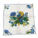 Sybilla 花卉印花純綿帕領巾(藍白色)