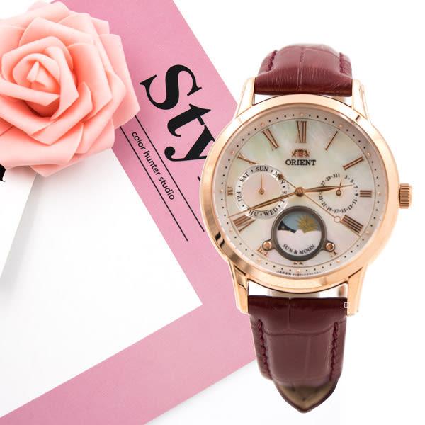 ORIENT 東方錶 RA-KA0001A 日相 月相 女錶 手錶 玫瑰金/34mm