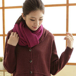 針織圍巾 素色坑條針織圍巾-獨具衣格中大尺碼