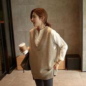 針織背心 馬甲女針織衫v領無頭韓版新品潮中長款背心毛衣 快速出貨免運
