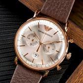 EMPORIO ARMANI 亞曼尼 AR11106 Aviator Brown 懷舊弧面英倫皮革腕錶 熱賣中!