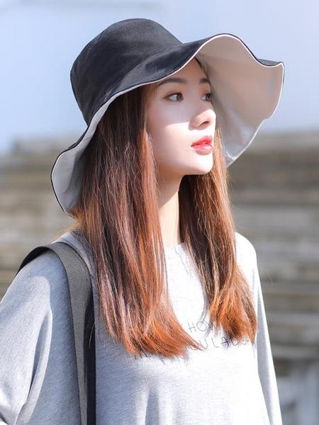 夏季女日系百搭防曬帽防紫外線遮陽帽韓版潮網紅大沿太陽帽
