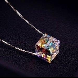 ♥巨安網購♥【GX496】閃亮透徹 炫彩水晶項鍊女 韓國925純銀鍊條鎖骨鏈銀飾品