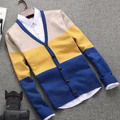 針織外套 男士純棉針織衫青少年學生韓版條紋長袖v領毛衣開衫  萬客居