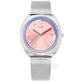 ALBA / VJ32-X304P.AG8K45X1 / 跳色潮流 霓虹元素 日期 米蘭編織不鏽鋼手錶 粉藍色 36mm
