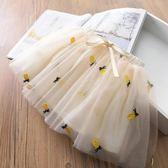女童短裙夏菠蘿刺繡女寶寶蓬蓬裙兒童半身裙公主裙童裝【開學季88折促銷】