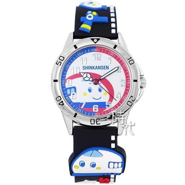 【台南 時代鐘錶 HELLO KITTY】新幹線百變英雄系列兒童手錶 KT016LWWB 銀/黑 32mm