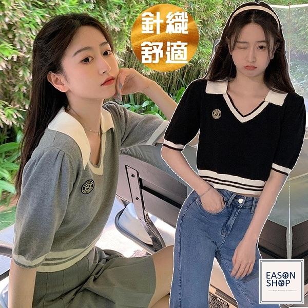 EASON SHOP(GQ1153)韓版學院風徽章繡花短版彈力修身POLO翻V領半袖短袖針織衫T恤女上衣服顯內搭衫