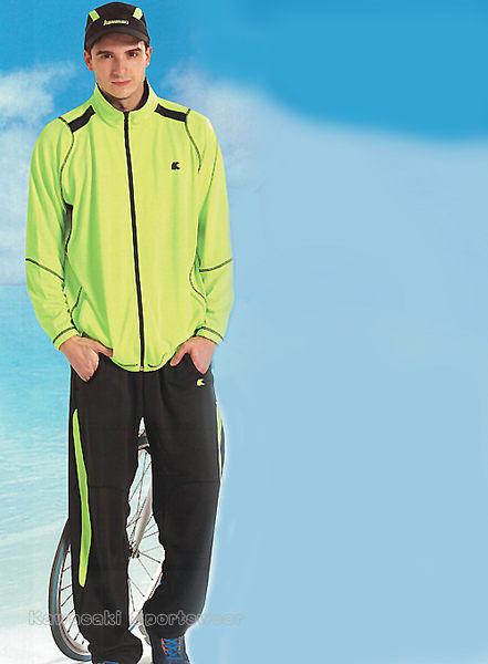 【日本Kawasaki】男女吸濕排汗針織運動服套裝(全套)-螢綠黑#K217AB