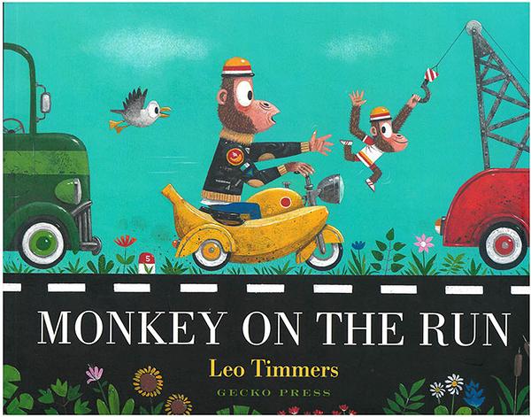 【英國繪本】MONKEY ON THE RUN /英文繪本《主題: 幽默.趣味.尋找.交通工具》作家:Leo Timmers
