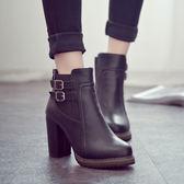 丁果、大尺碼女鞋35-43►韓系學院皮帶扣環高跟短靴*2色