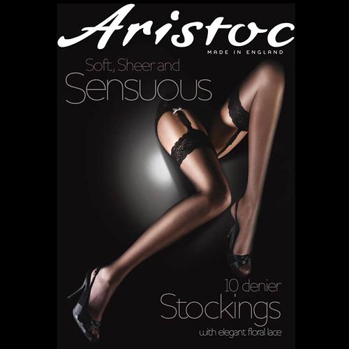『摩達客』英國進口Aristoc 高級10D性感黑色蕾絲膝上襪(60112074001)