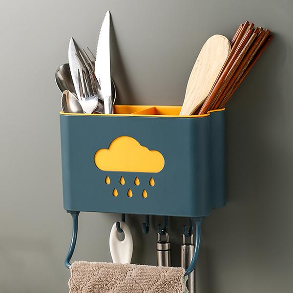 廚房壁掛收納架 收納盒 壁掛餐具桶 瀝水置物架 廚房 筷子筒 廚房置物架 餐具桶【RS1116】