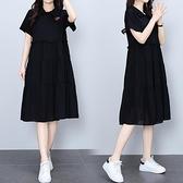 洋裝連身裙中大尺碼M-4XL女裝雪紡拼接刺繡寬鬆顯瘦遮肚子連身裙4F101-8858.胖妹大碼