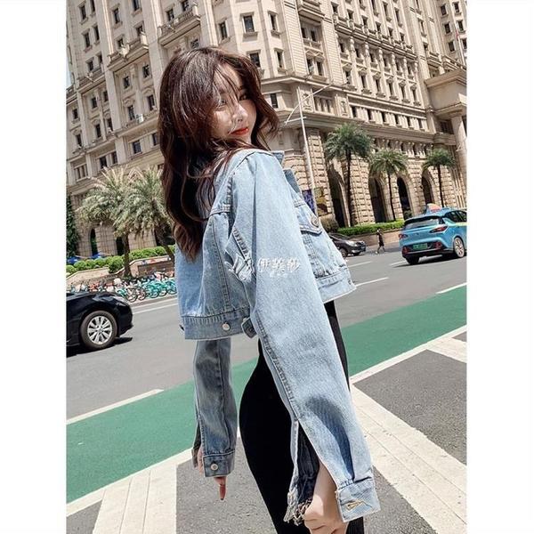 網紅牛仔外套復古港味潮流女春秋季百搭短款高腰矮個子超短牛仔衣
