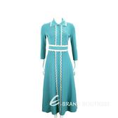 ELISABETTA FRANCHI 花瓣荷葉邊水藍色重磅針織洋裝 1910030-A1