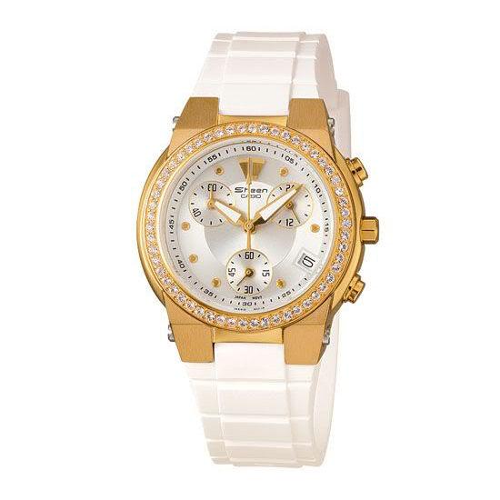 CASIO SHEEN系列 典雅晶鑽計時腕錶(膠帶-金)