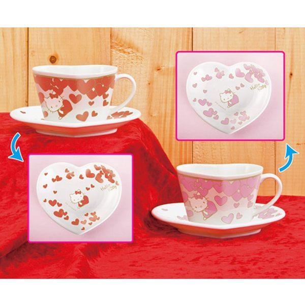 【震撼精品百貨】Hello Kitty 凱蒂貓~心型陶瓷咖啡杯盤組(紅+粉)
