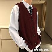 新款復古港風酒紅色針織開衫馬甲男ins超火毛衣外套潮 奇妙商鋪