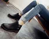 短靴秋冬季短靴女低跟圓頭馬丁靴扣帶粗跟英倫復古裸靴側拉鏈 米蘭潮鞋館