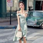 輕熟法式吊帶洋裝新款氣質性感一字肩中長款荷葉邊裙子女夏 艾瑞斯居家生活