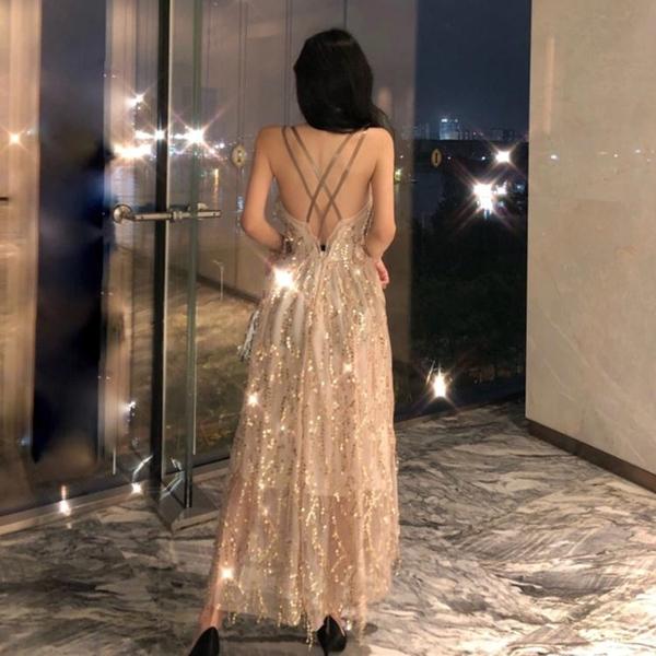 禮服金色晚禮服設計感名媛bling長裙亮片吊帶露背性感連身裙宴會女神 JUST M
