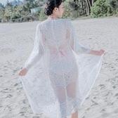 現貨米白33041/七分袖蕾絲網紗太陽花沙灘防曬衣女中長款空調衫開衫外套