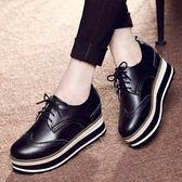 鬆糕鞋韓版春新款厚底單鞋內增高百搭英倫風學生休閒女 【PINKQ】