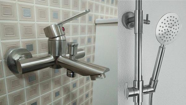 淋浴龍頭組+滑桿組(含蓮蓬頭+軟管) 正304不銹鋼 沐浴 衛浴 洗澡 水龍頭 台製質感佳 無鉛好生活