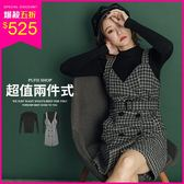 現貨 PUFII-立領針織上衣+格紋翻領排釦毛呢連身裙(附腰帶)兩件式套裝-1108  冬【CP15505】