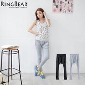 哈倫褲--舒適休閒鉚釘簡約鬆緊設計運動風棉質哈倫褲(黑.灰S-XL)-P91眼圈熊中大尺碼
