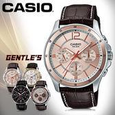 CASIO手錶專賣店 卡西歐  MTP-1374L-9A  男錶  三眼 礦物玻璃鏡面 不鏽鋼錶殼+IP電鍍 皮革錶帶