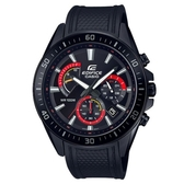【CASIO】 EDIFICE 大型錶面極速大道橡膠腕錶-黑面X紅(EFR-552PB-1A)