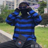 韓國復古百搭粗條紋潮流針織高領毛衣 18FW男女款  潮流衣舍