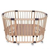 夢貝比多功能櫸木圓床/嬰兒床 (ET818) +六件式寢具10800元 (附冬夏棕櫊乳膠床墊)